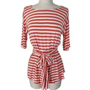 Orange white striped long top tie waist size small